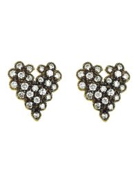 Cathy Waterman - Gray Scalloped Heart Studs - Lyst