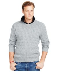 Polo Ralph Lauren | Gray Big And Tall Cable-knit Tussah Silk Sweater for Men | Lyst