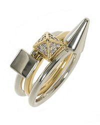 Noir Jewelry | Metallic 3 Mix Stackable Ring Set | Lyst