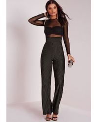 Missguided - Mesh Top Stripe Jumpsuit Black - Lyst