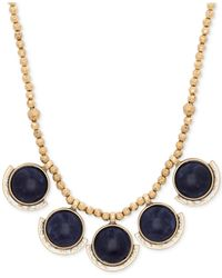 Lucky Brand | Metallic Gold-tone Lapis Small Collar Necklace | Lyst