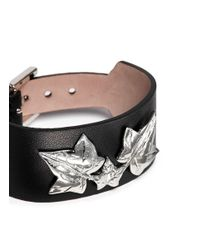 Alexander McQueen - Black Ivy Leaf Leather Bracelet - Lyst
