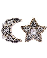Lanvin | Metallic Silver-tone Crystal Elsie Moon Star Clip-on Earrings | Lyst