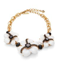 Oscar de la Renta - Black Jewel & Cabochon Flower Necklace - Lyst