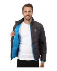 Spyder - Gray Geared Synthetic Down Jacket for Men - Lyst