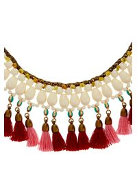 Isabel Marant - Red Mild Tassel And Bead Collar Necklace - Lyst