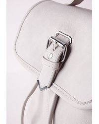 Missguided - Gray Faux Fur Buckle Detail Backpack Grey - Lyst