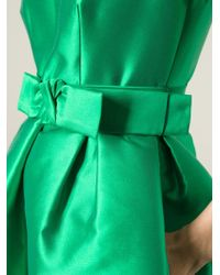 P.A.R.O.S.H. - Green Duchess Belted Dress - Lyst
