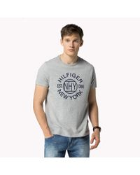 Tommy Hilfiger | Gray Cotton Regular Fit T-shirt for Men | Lyst
