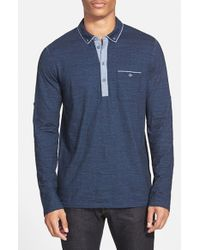 BOSS Orange - Blue 'patcherman' Long Sleeve Jersey Polo for Men - Lyst