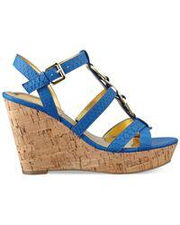 Marc Fisher - Blue Genre Platform Wedge Sandals - Lyst