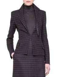 Akris - Blue Wool Detachable-Lapel Plaid Jacket - Lyst