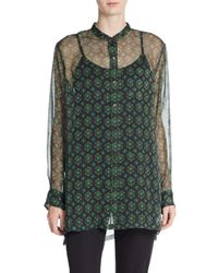 Dries Van Noten - Green Geo-print Silk Chiffon Blouse - Lyst