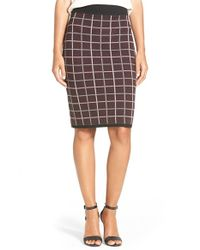 Halogen | White Windowpane Check Knit Pencil Skirt | Lyst