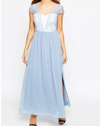 ASOS | Blue Petite Scalloped Lace Maxi Dress | Lyst