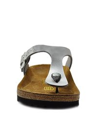 Birkenstock - Gizeh - Silver Metallic Leather Thong - Lyst
