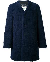 KENZO - Blue Textured Collarless Coat for Men - Lyst