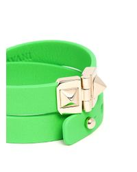 Valentino - Green Rockstud Double Wrap Hinge Leather Bracelet - Lyst