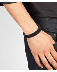Bottega Veneta - Black Nero Intrecciato Oxidized Silver Nappa Bracelet for Men - Lyst