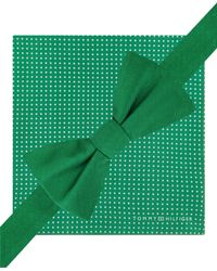 Tommy Hilfiger | Green Solid Pre-tied Bow Tie And Dot Print Pocket Square Set for Men | Lyst