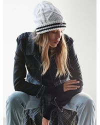 Free People | White Womens Sporty Stripe Double Beanie | Lyst