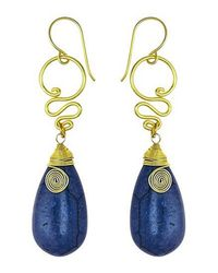 Aeravida | Cute Navy Blue Howlite Teardrop Brass Swirl Earrings | Lyst