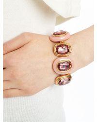 Oscar de la Renta - Pink Crystal and Resin Bracelet - Lyst
