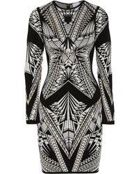 Hervé Léger | Black Embellished Ponte Dress | Lyst