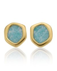 Monica Vinader | Green Atlantis Mini Stud Amazonite Earrings | Lyst