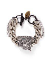 Venna - Metallic Crystal Jaguar Head Curb Chain Bracelet - Lyst