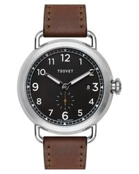 Tsovet - Metallic 'svt-cv43' Round Leather Strap Watch for Men - Lyst