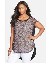 Sejour - Black Mixed Media High/low Tee - Lyst