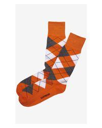 Express - Orange Argyle Dress Socks for Men - Lyst