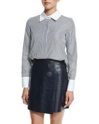 Adam Lippes - Gray Long-sleeve Button-front Shirt - Lyst