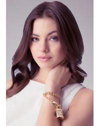 Bebe - Metallic Lion Padlock Bracelet - Lyst