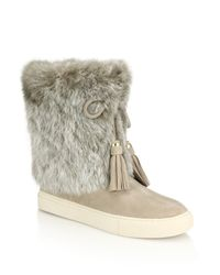 Tory Burch - Natural Anjelica Rabbit Fur-trimmed Suede Boots - Lyst