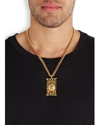 Versus - Metallic Gold Tone Lion And Chain Necklace for Men - Lyst