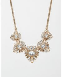 Lipsy - Metallic Deco Crystal Collar Necklace - Lyst