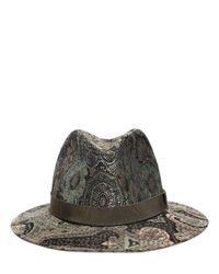 Etro - Green Paisley Printed Wool Blended Hat - Lyst