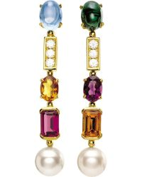 BVLGARI | Multicolor Coriandoli Allegra 18kt Yellow-gold, Gem, Pearl And Diamond Earrings | Lyst