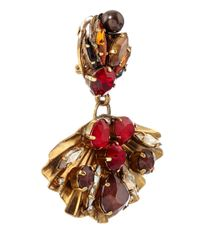Vickisarge - Red Artisan Crystal Fan Earrings - Lyst