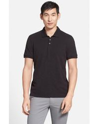 VINCE | Black Trim Fit Slub Cotton Polo for Men | Lyst