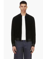 Calvin Klein - Black Suede Bomber Jacket for Men - Lyst
