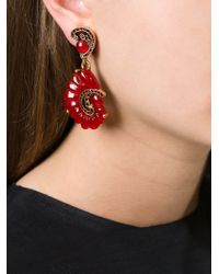 Oscar de la Renta - Red Scalloped Swirl Clip-On Earrings - Lyst