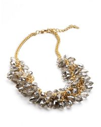 ABS By Allen Schwartz | Metallic Beaded Front Chain Necklace | Lyst