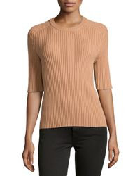 Michael Kors - Brown Ribbed Half-sleeve Top - Lyst