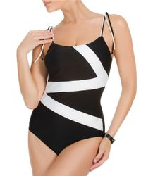 Miraclesuit | Black One-piece Zigzag Color-block Swimsuit | Lyst