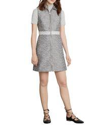 Warehouse - Gray Textured Zip Front Dress - Lyst