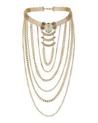 TOPSHOP - White Chain Drape Necklace - Lyst
