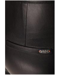 BOSS Orange - Black Biker Trousers In Leather-effect 'siloka' - Lyst